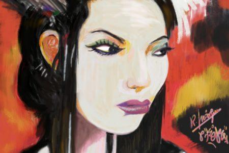 Mujer Oriental técnica mixta experimentos con manchas de colores.