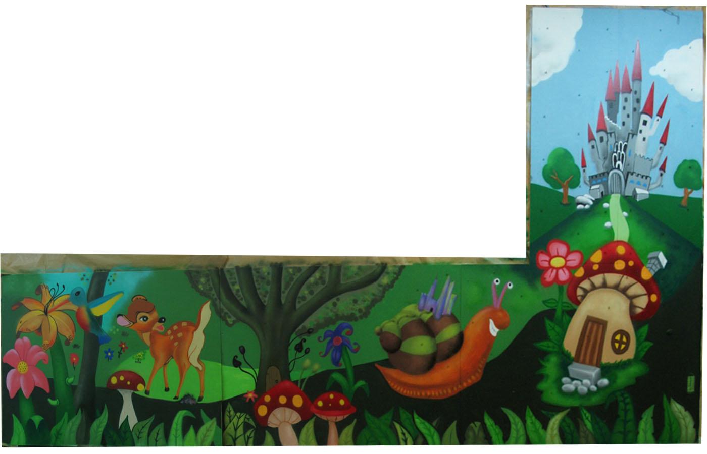 mural graffiti Ludoteca tris tras