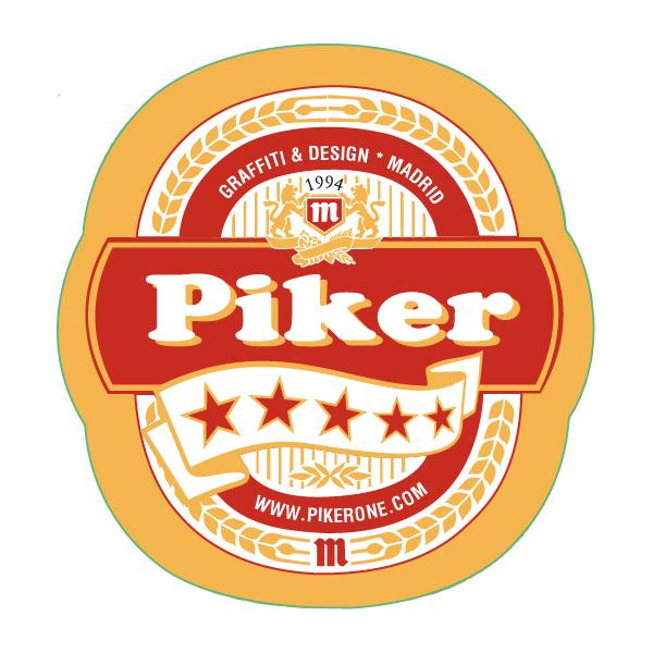 piker etiqueta cerveza estilo mahou