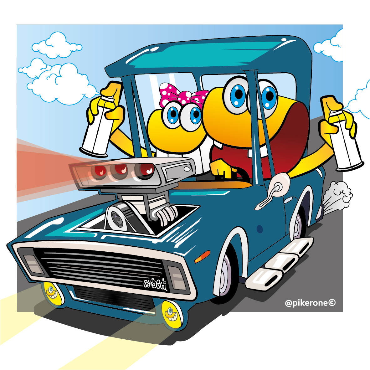 Clams ilustracion digital sport tunning car