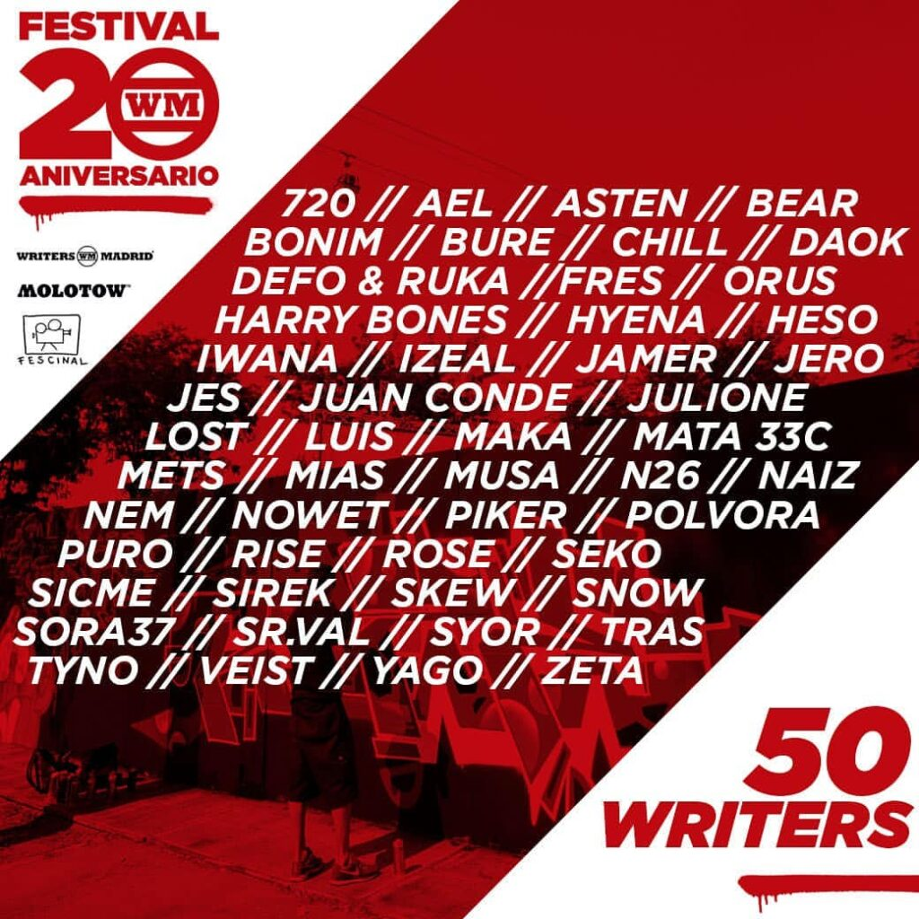 cartel writers madrid 20 anviersario